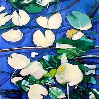 Dimitra Koula: 'waterlilies', 2015 Oil Painting, Landscape. lilies in water pond...