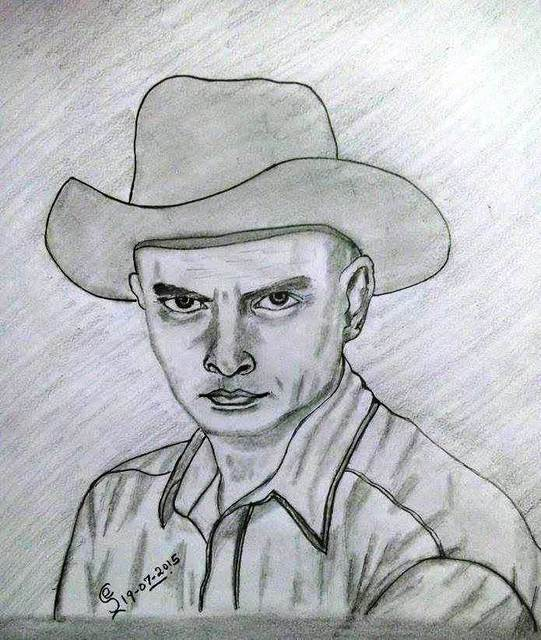 Jambulingam Elangovan  'Yul Brynner', created in 2015, Original Drawing Pencil.