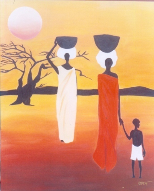 Peter Odeh  'DAUGHTERS OF AFRICA', created in 2008, Original Painting Acrylic.