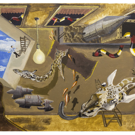 Peter Pap Artwork Snakes and Ladders Occasionally Go Wrong, 2015 Acrylic Painting, Surrealism