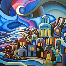 Peter Thaddeus Artwork The Village II, 2008 Acrylic Painting, Abstract