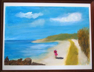 James Emerson: 'A Beach Walk', 2009 Oil Painting, Beach.  Walk the beach in the sunshine of summer in Maine           ...