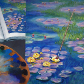 Pat Heydlauff: 'Dreaming', 2011 Acrylic Painting, Still Life. Artist Description:    Whether your dream is to visit Monet's gardens in Giverny, have your own waterlily garden or be the next Monet and paint a masterpiece, this painting reminds you to dream big.   ...