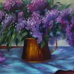 copper pot with lilacs By Pat Heydlauff
