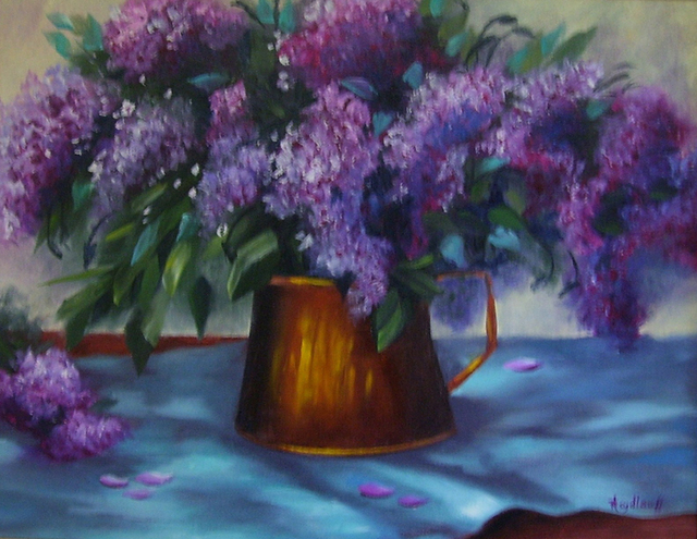 Pat Heydlauff  'Copper Pot With Lilacs', created in 2011, Original Painting Acrylic.