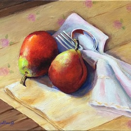 Pat Heydlauff: 'pear twosome', 2016 Acrylic Painting, Still Life. Artist Description: Whether it is time for lunch, a snack or afternoon tea, one pear is great, a twosome is even better....