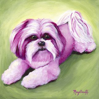 Pat Heydlauff: 'pink crystal', 2016 Acrylic Painting, Still Life. Artist Description: Crystal is an in your face dog that effervesces life and joy yet is as beautiful and charming as a piece of rose or pink quartz....