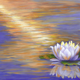 Pat Heydlauff: 'tranquil', 2016 Acrylic Painting, Spiritual. Artist Description: Tranquil with its beautiful color reflective lotus flower is the profound and powerful life- force energy that brings everything into existence and it is the alignment that allows all of us to bloom and be tranquil or at peace....