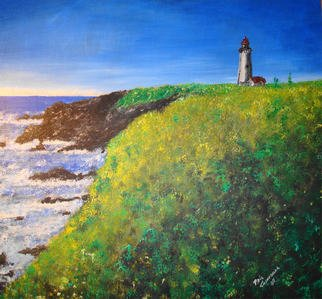 Phil Cashdollar Artwork Yaquina Head Lighthouse, 2008 Acrylic Painting, Seascape
