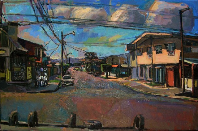 Philip Hale  'Intersection With Tires', created in 2008, Original Pastel.