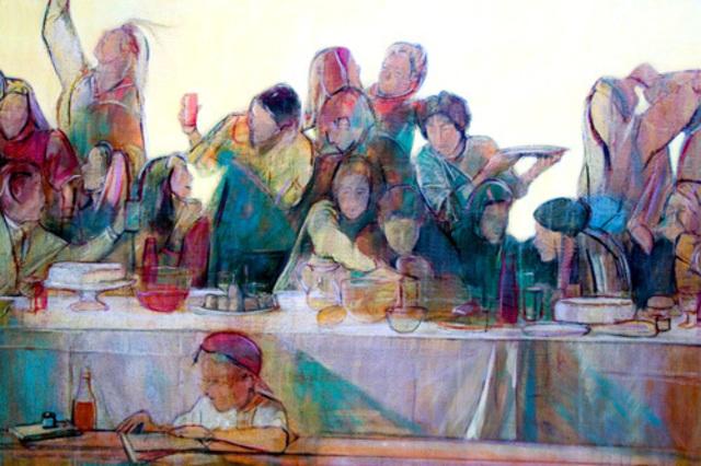 philip smeeton artwork last supper original painting oil