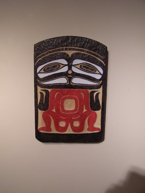 Phil Parkes: 'Tlikrit Ancestral House Board   Traditional', 2007 Wood Sculpture, Culture.  Tlikrit Ancestral House Board ( Traditional) Relief Carving in PoplarHandcarved and Painted in traditional style. ...