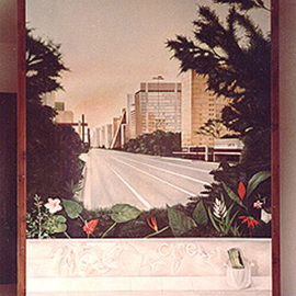 Philip Hallawell: 'Avenida Paulista', 1983 Oil Painting, Urban. Artist Description: This painting was commissioned by Paulo Bastos for the entrance of his home. It depicts the Avenida Paulista, one of Sao Paulo' s main avenues in a surreal setting. The scene was captured in early morning without any traffic....