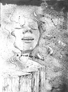 Philip Hallawell: 'Ecstasy XIV', 1996 Pen Drawing, Inspirational. Black indian ink washes worked over with various types of drawing pens. This drawing was featured in my second book, on techniques. ...