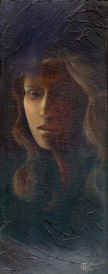 Philip Hallawell: 'Muse 6', 1999 Oil Painting, Inspirational. This painting was done in the chiaroscuro technique on canvas on wood, so as to be able to portray the type of inspiration that slowly emerges into light....