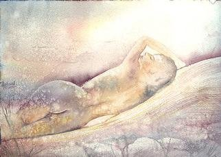 Philip Hallawell: 'Reclining Nude', 1997 Watercolor, Erotic. Watercolour on Arches Torchon paper. ...