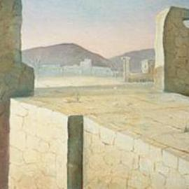 Philip Hallawell: 'The Ruins of Troy', 1987 Oil Painting, War. Artist Description: A painting done in oils on canvas on wood, which depicts another negative aspect of war: the destruction of cities and civilizations. From the Iliad series, it is part of the Elias and Pinah Ayoub collection. ...