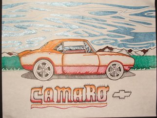 Phil Smith: 'camaro', 2009 Marker Drawing, Automotive.