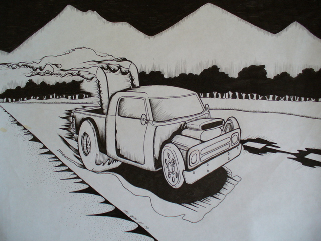Phil Smith  'Street Rod', created in 2009, Original Drawing Marker.