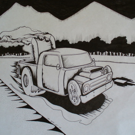 Phil Smith Artwork street rod, 2009 Marker Drawing, Automotive