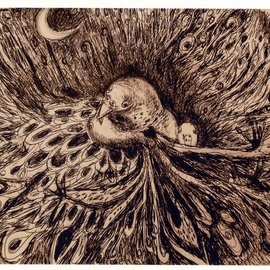 Marilyn Nosewicz Artwork Birds Nest Chaos Crescent Moon Drawing Print, 2012 Giclee - Open Edition, Birds