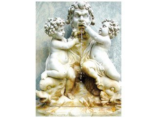 Marilyn Nosewicz Artwork Cherubs Statue Fish Fountain Color Photograph, 2010 Color Photograph, Ethereal