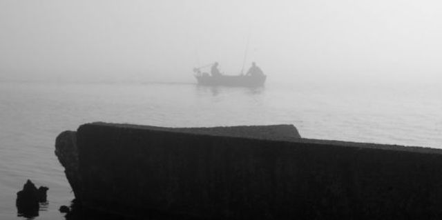 Marilyn Nosewicz  'Spring Morning Fog Boat Black And White Photograph', created in 2010, Original Printmaking Giclee - Open Edition.