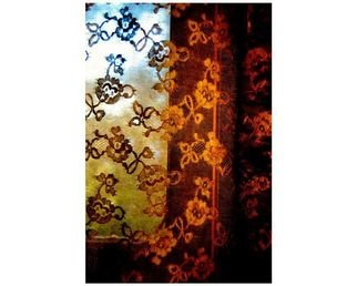 Marilyn Nosewicz Artwork Window Colorful Curtain Twilight Color Photograph, 2011 Color Photograph, Architecture