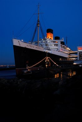 Timothy Oleary: 'Queen Mary Evening', 2008 Other Photography, Travel.  The Queen glistens at night ...