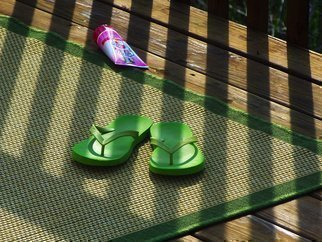 C. A. Hoffman Artwork Green FlipFlops On the Waterfront, 2009 Color Photograph, Abstract Landscape