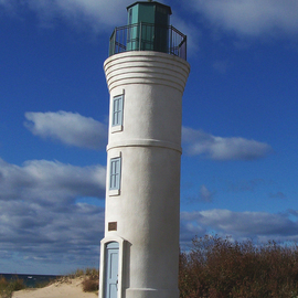 Lonely Lighthouse Traverse City Michigan By C. A. Hoffman