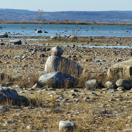 C. A. Hoffman: 'She Aint Heavy', 2008 Color Photograph, Landscape. Artist Description:  Third in my series of Traverse City Bay's thriving rock beach population.All photos are available in sizes up to 16x20 inches. ...