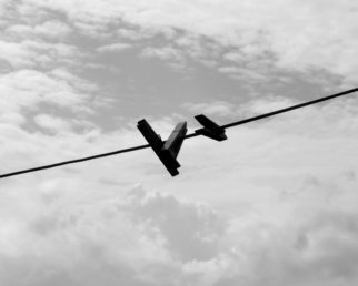 C. A. Hoffman Artwork Triple High Wire Act, 2009 Black and White Photograph, Abstract Landscape