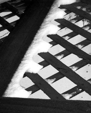 C. A. Hoffman: 'Winter Criss Cross', 2008 Black and White Photograph, Archetypal.  Black and white of an everyday piece of the American life.  The criss- crossing pattern of the lattice helps this piece to project the solitary and cold of the dead of winter. ...