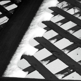 C. A. Hoffman: 'Winter Criss Cross', 2008 Black and White Photograph, Archetypal. Artist Description:  Black and white of an everyday piece of the American life.  The criss- crossing pattern of the lattice helps this piece to project the solitary and cold of the dead of winter. ...