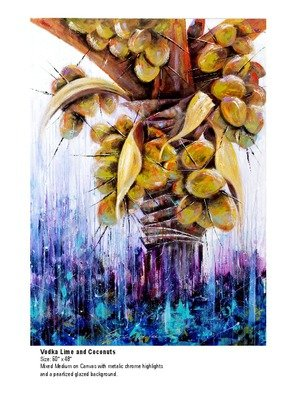 Ms Sibraa: 'Cocktail Hour', 2016 Mixed Media, Abstract.  full of coconuts this coconut palm has bold color with chrome highlights and a background of pearl translucent glaze. ...