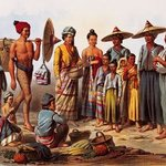 Laos Market Scene Lithography By Jean Dominique  Martin