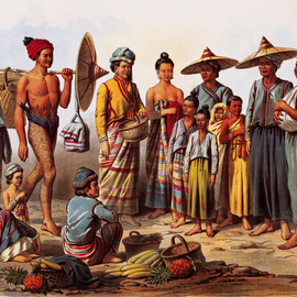 Laos Market Scene Lithography