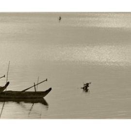 Jean Dominique  Martin: 'Laos Mekong River Fishing Boat', 2015 Mixed Media Photography, Landscape. Artist Description:        Laos Fishing Boat on the Mekong River   ...