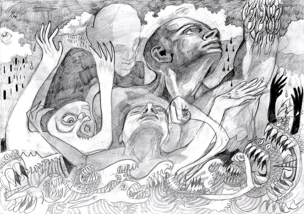 Pia distefano artwork stress original drawing pencil abstract figurative art