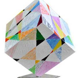 Dieter Picchio-specht: 'Cube abstract fantasy', 2011 Steel Sculpture, Abstract. Artist Description:  This cube is made of steel. I applied the acrylic colors with pallet knife and the result is very interesting. . . ...