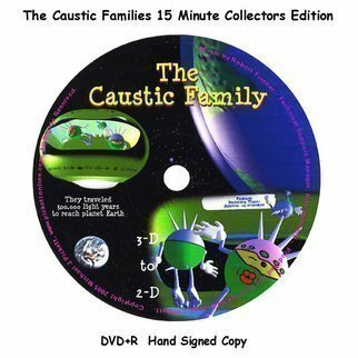 Michael Pickett: '3D 2D Caustic Family 15 Minute Movie', 2005 , Movies.  For a limited time only. This is a hand signed copy of the first original 3- D to 2- D Caustic Family Movie. Copied to DVD+R. Once upon a time there was a planet called Zephyr. The planet itself is comprised of rubber, magical diamonds and a helium atmosphere...