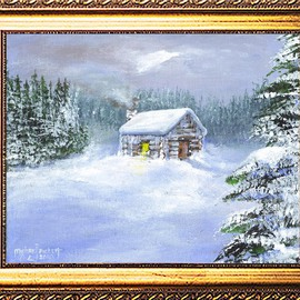 Michael Pickett Artwork A Cabin Snow Scene, 2010 Acrylic Painting, Landscape