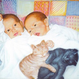 Michael Pickett: 'Babys and Kitties', 1993 Acrylic Painting, Children. Artist Description:  Commissioned in 1993 ...