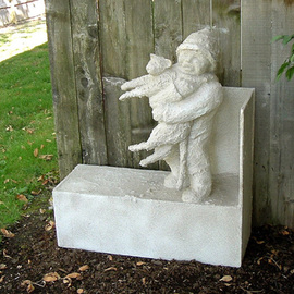 Michael Pickett: 'Best Friends Sculpture', 1992 Other Sculpture, People. Artist Description:   Cat and Little Boy  ...