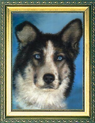 Animals Acrylic Painting by Michael Pickett titled: Blue Eyes , created in 2002