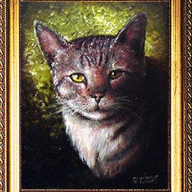 Michael Pickett Artwork Boots, 2009 Acrylic Painting, Cats
