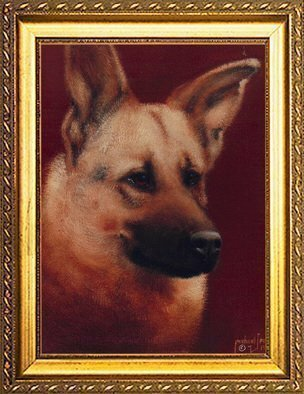 Animals Acrylic Painting by Michael Pickett Title: Brown Dog, created in 1991