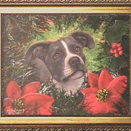 Michael Pickett Artwork Christmas Puppy, 2010 Acrylic Painting, Dogs