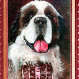 Michael Pickett Artwork Commissioned, 1983 Acrylic Painting, Dogs